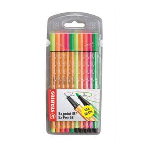 STABILO tindipliiats, point 88 (5 värvi) + Pen 68 (5 värvi), neoon 1/1