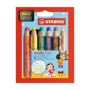 STABILO värvipliiats, Woody 3 in 1 + teritaja, 6 värvi 1/1
